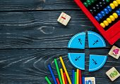 Creative Сolorful Math Fractions On Dark Background. Interesting Funny Math For Kids. Education, Bac poster