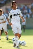 LOS ANGELES - JULY 16: Real Madrid C.F. D Sergio Ramos #4 during the World Football Challenge game b