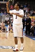 LOS ANGELES - MARCH 12: Arizona Wildcats G Kevin Parrom #3 during the NCAA Pac-10 Tournament basketb