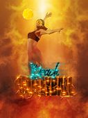 Volleyball beach poster. Woman volleyball beach player in action on smoke background  poster