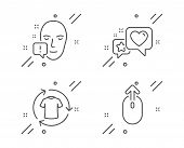 Face Attention, Heart And Change Clothes Line Icons Set. Swipe Up Sign. Exclamation Mark, Star Ratin poster