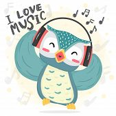 Happy Dance Blue Owl Listen Music And Sing Song With Headphone, Printable Flat Vector Cute Cartoon F poster
