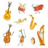 Funny Musical Instruments Cartoon Characters With Funny Faces Set, Cello, Saxophone, Trumpet, Accord poster