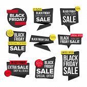 Black Friday Sale Banner Set . Discount Tag, Special Friday Offer Banner. Special Offer Black Templa poster