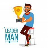 Attainment Achievement Concept . Businessman Leader Holding Winner Cup. Entrepreneurship, Accomplish poster