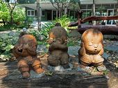 Closeup Three Wise Monkeys Statue In Children Form, Is A Symbol Of see No Evil, Hear No Evil, Speak poster