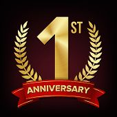 1 Year Anniversary . One, First Celebration Banner. Gold Digit Sign. Number One. Laurel Wreath. For  poster
