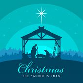 Christmas The Savior Is Born Banner Sign With Nightly Christmas Scenery Mary And Joseph In A Manger  poster
