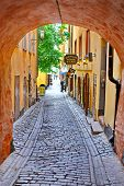 Along The Street Of The Old Town (gamla Stan) In Stockholm
