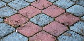 pavement with colored cobbles
