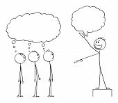 Vector Cartoon Stick Figure Drawing Conceptual Illustration Of Enthusiastic Man, Business Leader Or  poster