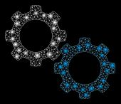 Flare Mesh Mechanical Gears With Sparkle Effect. Abstract Illuminated Model Of Mechanical Gears Icon poster