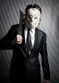 picture of machete  - Office maniac with machete posing over lined background - JPG
