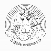 Small, Cartoon Unicorn. Black And White Vector Illustration For Coloring Book. poster