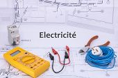Electricity Occupation Electrician Graphic Resource With House Plan And Electrical Equipment For Ele poster