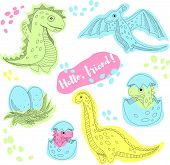Cute Baby Dinosaurs. Fantasy Cartoon Colorful Prehistoric Happy Dinosaurs Wild Animals. Illustration poster