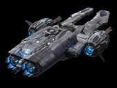 Spaceship Isolated On A Black Background 3d Illustration poster