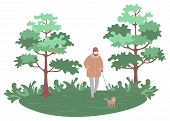 Person Walking In Park With Dog Vector, Pet On Leash With Owner. Mammal With Furry Coat, Tree And Gr poster