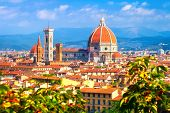 Florence Landmark. Santa Maria Del Fiore Cathedral In Florence, Italy. View On The Dome From Michela poster