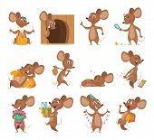Cartoon Mouse. Funny Little Animals Vector Lab Mice With Cheese Collection Pictures. Mouse Animal, L poster