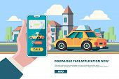 Order Taxi. Smartphone In Hand Online Press Order Button Urban Mobility Taxi Near Buildings Vector C poster