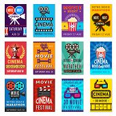 Cinema Poster. Vintage Film Retro Cards Movies Placard Vector Backgrounds Collection. Illustration O poster