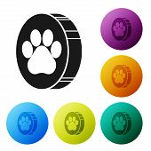Black Paw Print Icon Isolated On White Background. Dog Or Cat Paw Print. Animal Track. Set Icons Col poster
