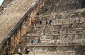 Maintenance Workers In Chichen Itza Pyramid