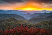 stock photo of appalachian  - Blue Ridge Parkway Autumn Appalachian Mountains Sunset Western NC Scenic Landscape vacation destination - JPG