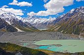 stock photo of hookers  - Mt Cook and the Hooker Valley in New Zealand - JPG
