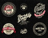 Vintage Retro vector set of premium quality and guarantee labels.