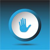 Stop hand. Plastic button. Vector illustration.
