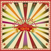 Square circus color card. A wonderful circus card with mullticolor sunbeams for a big party !