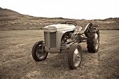 foto of iceland farm  - Retro Tractor on the Iceland field - JPG