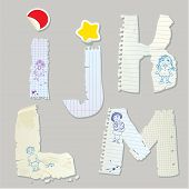 English Alphabet - Letters Are Made Of Old Paper - Letters I, J, K, L, M