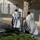 Unidentified Religious Jews Go From  The Synagogue On Shabbat On De