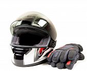 Motorcycle helmet and glove