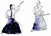 picture of aikido  - A hand drawn illustration of aikido warriors - JPG