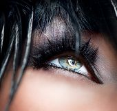 Eye Makeup. Smoky Eyes. Smokey Eyes Make-up close-up. Black Eyeshadow