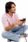 Young Man Playing Video Games poster