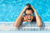 Happy Crazy Young Woman Expression In Tropical Resort Vacation