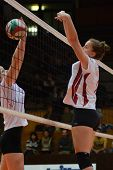 KAPOSVAR, HUNGARY - JANUARY 13: Zsanett Pinter (R) in action at the Hungarian I. League volleyball g