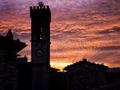 Campanile at dusk, Italian Architecture - Umbria