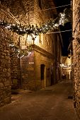 Christmas garlands in Umbria, Italy
