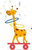 Cartoon illustration of a Giraffe playing hula hoops on top of a balancing board