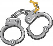 Illustration of Handcuffs with Keys