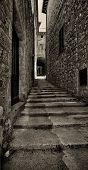 Narrow medieval alley, Italian Architecture - Umbria