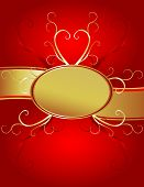 Red Oval Gold Heart Background