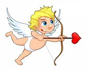 Funny Cupid. Cartoon and vector isolated character.