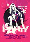 Let`s Party design template with fashion girl and place for text.
